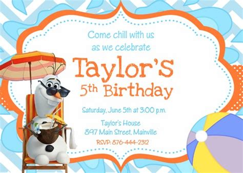 printable olaf party invitations olaf frozen snowman summer birthday party invitation