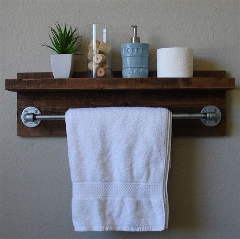 bathroom towel shelves wall mounted industrial rustic wall mount bathroom shelf with 24 quot towel