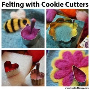 felt pattern cutter needle felting with cookie cutters spotted canary