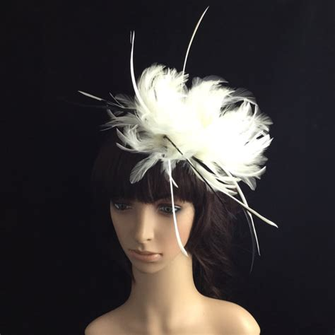 Wedding Hair Accessories Derby by White Fascinator With Feathers Wedding Headpiece Bridal