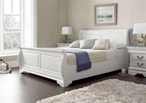 White Wooden Sleigh Bed Louie Polar White New Wooden Sleigh Beds Wooden Beds Beds
