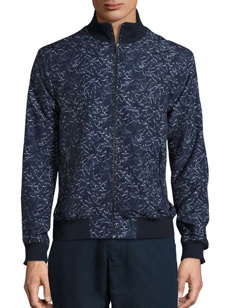 Palm Bomber Jacket michael kors palm print bomber jacket in blue for save 76 lyst