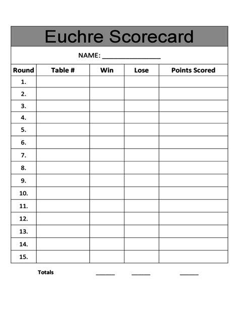 score cards templates sle euchre score card free