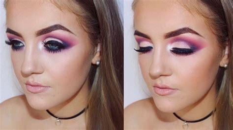 Cut Pink pink and purple cut crease smokey eye