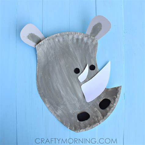 How To Make A Rhino Out Of Paper - paper plate rhino craft for crafty morning