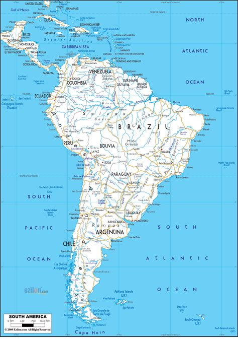 detailed clear large road map of south america ezilon maps