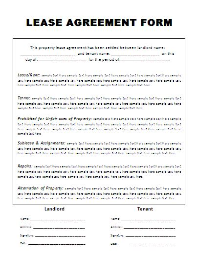 Template Of Lease Agreement rental lease agreement form free word s templates