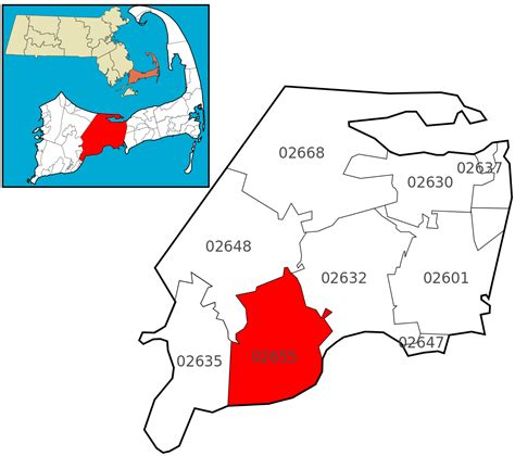 zip code map massachusetts file barnstable ma zip codes 02655 osterville highlighted