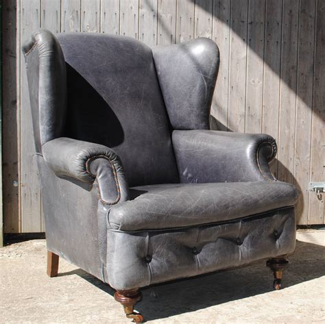 Grey Armchair Uk Vintage Grey Leather Armchair By Iamia