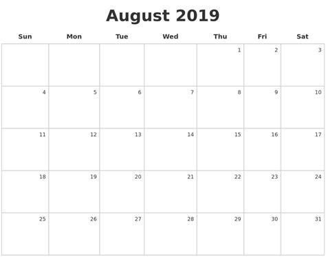how do i make a calendar august 2019 make a calendar