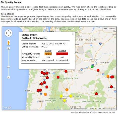 air quality map of oregon map oregon air quality swimnova