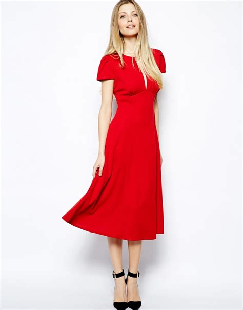 Dress Midi Flower 3 lyst asos midi dress with fit and flare skirt in