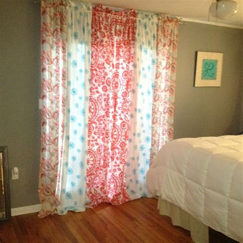 shower curtain as window treatment mix match panels could also use as shower curtain