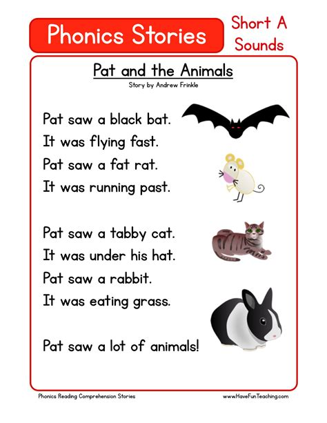 Phonics Reading Worksheets For Kindergarten by Reading Comprehension Worksheet Pat And The Animals