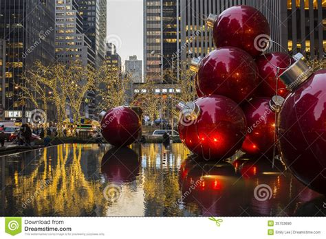 giant christmas ornaments decoration in nyc ornaments in a nyc editorial image image 35753690