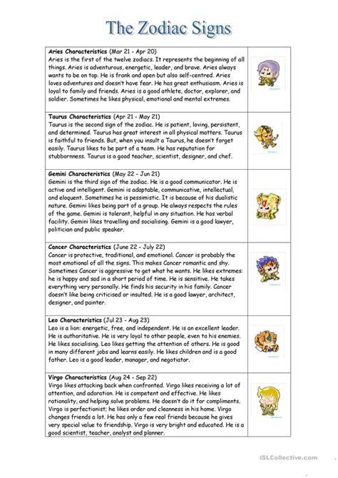Zodiac Signs Printable Worksheets | the zodiac signs worksheet free esl printable worksheets