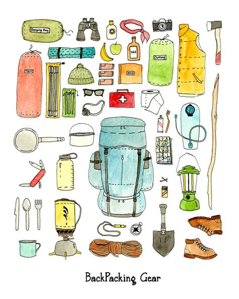 hiking gear backpacking gear checklist print
