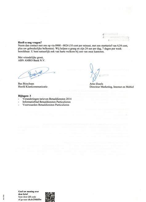 zakelijke brief les les 19 voorbeeldbrieven 6 en 7 abn amro kosten zakelijk schrijven