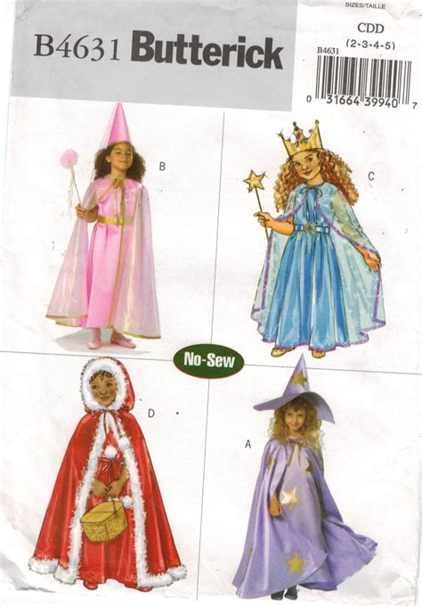 patterns sewing costumes butterick pattern 4631 no sew costumes for girls princess
