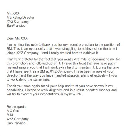 appreciation letter for an employee to manager sle thank you letter to 11 free documents