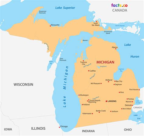map of cities in michigan michigan maps political physical cities and blank outline