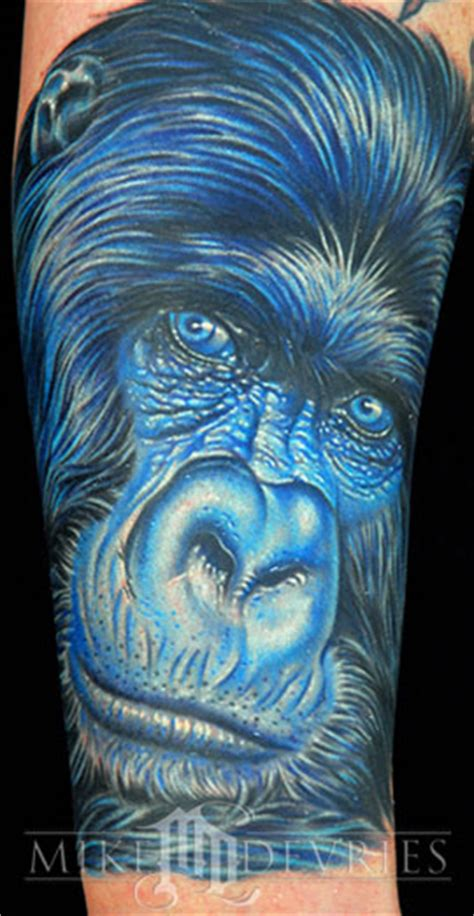 blue gorilla tattoo mike devries tattoos animal mono gorilla