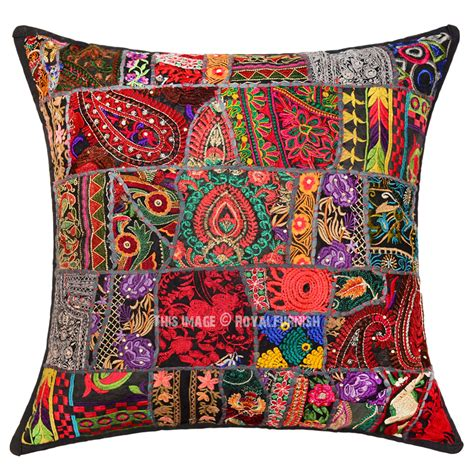 24 couch pillows 24 x 24 quot handcrafted black embroidered patchwork throw