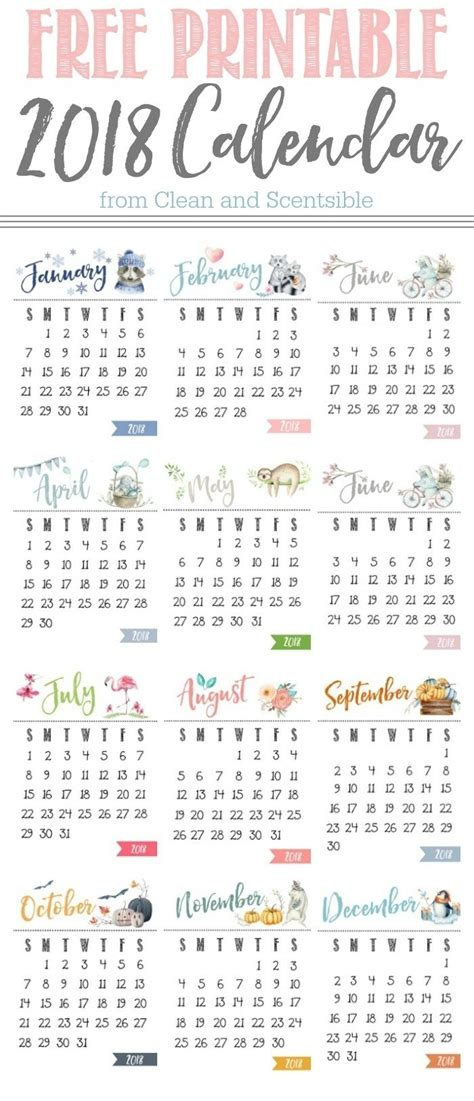 printable calendar 2018 cute and crafty cute 2018 calendar printable happyeasterfrom com