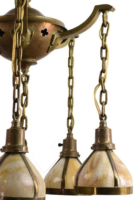 Slag Glass Chandelier Cast Brass Arts And Crafts Chandelier With Slag Glass Shades Circa 1905 At 1stdibs