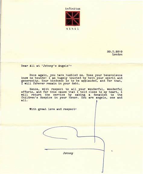 Letter Johnny Johnny S Letter To Quot Johnny S Society Quot Johnny Depp Photo 22090305 Fanpop