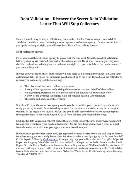 Letter To Credit Bureau After No Validation Debt Validation Discover The Secret Debt Validation Letter That Wil
