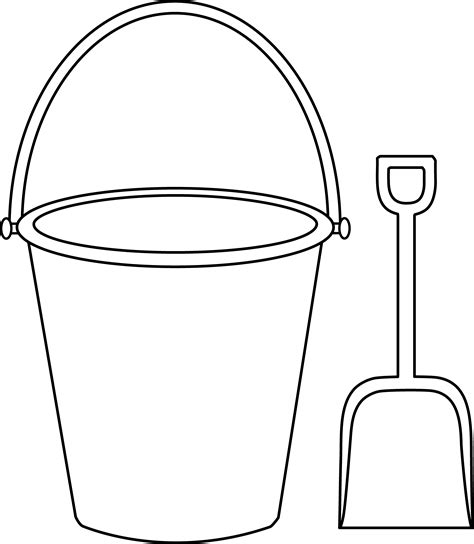kids colorable pail and shovel free clip art