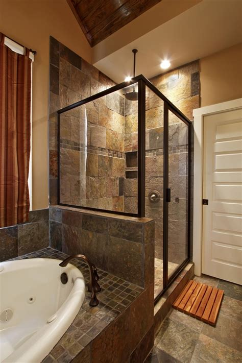 Slate Tile Bathroom Designs Slate Bathroom Ideas Slate Tile Shower Bath Combo Wall