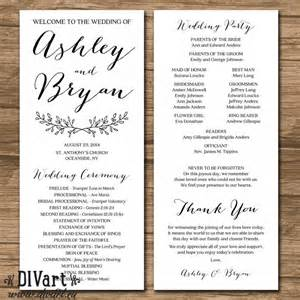 wedding program sizes printable 4x9 quot wedding program sided simple and custom color size font