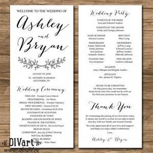 wedding program sizes printable 4x9 quot wedding program sided simple and custom color size font