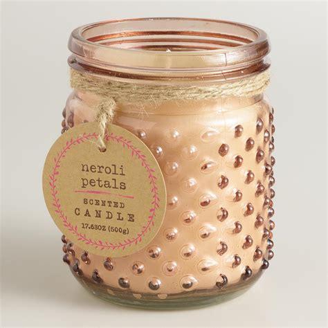 Glass Candle Jars Pink Neroli Petals Glass Hobnail Jar Candle World Market