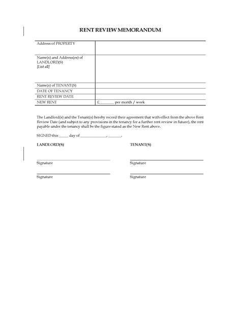 Memorandum Template Uk Uk Rent Review Memorandum Forms And Business