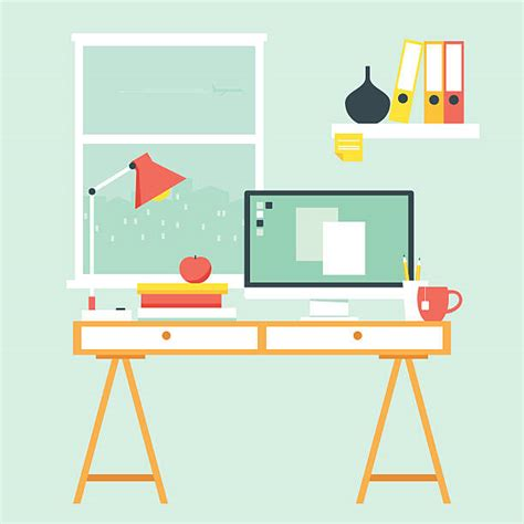 Computer Desk Clipart Study Clip Vector Images Illustrations Istock