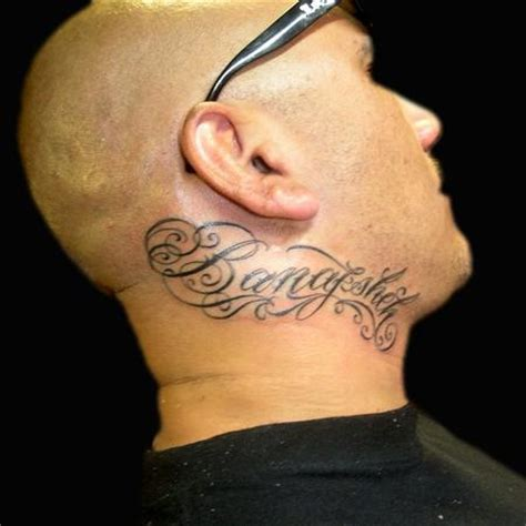 tattoos lettering neck