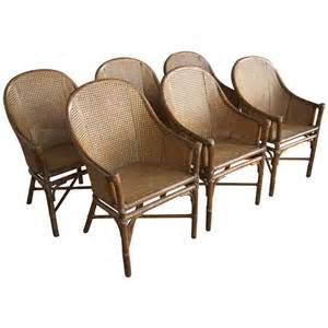 Cane Dining Chairs Set Of Six Rattan And Cane Dining Chairs By Mcguire At 1stdibs