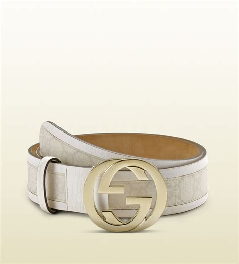 Gucci White gucci gg plus belt with interlocking g buckle in white lyst