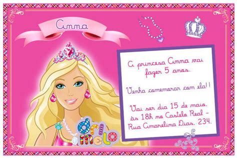 convites personalizado da barbie pictures to pin on pinterest convite barbie 15cm x 10cm drimelo designer de papel