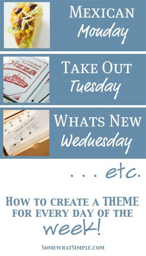 theme names for days of the week let s eat workshop menu planning week 3 of 4 somewhat