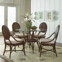 Indoor Wicker Dining Room Chairs Hospitality Rattan Oyster Bay Indoor Rattan Wicker Rattan 5 42 In Dining Set With Glass