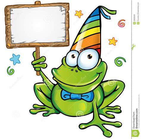 imagenes de feliz a241o partido feliz de la rana con el letrero ilustraci 243 n