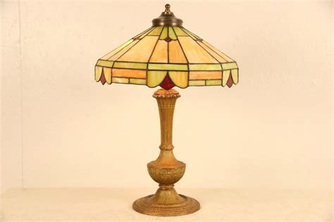 SOLD   Lamp with Leaded Stained Glass Shade, 1915 Antique