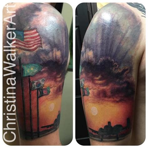 quarter sleeve military tattoo military half sleeve by christina walker tattoonow