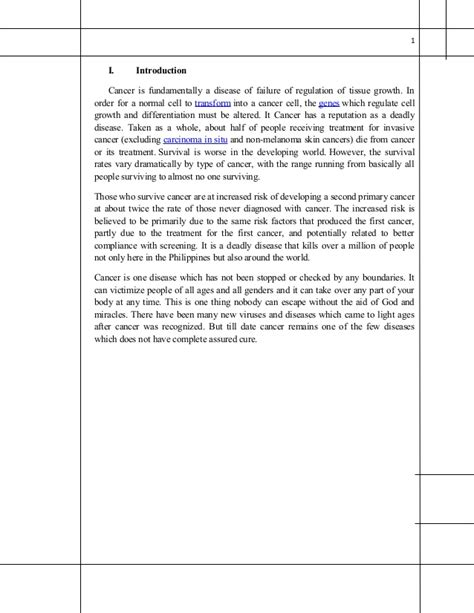 term paper with margins in cancer