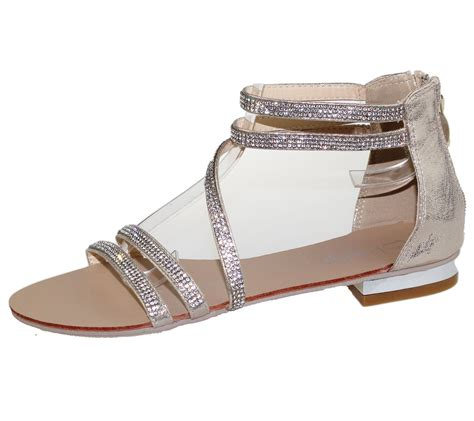 Hochzeit Schuhe Damen by Womens Flat Sandals Diamante Open Toe Summer