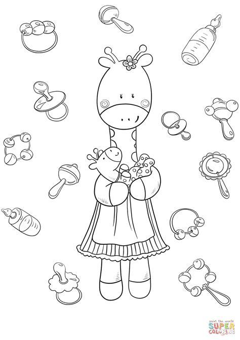 giraffe coloring page giraffe with baby giraffe coloring page free